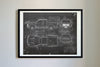 Ford F-150 Raptor (2016) da Vinci Sketch Art Print Blackboard