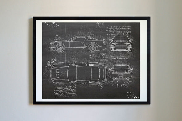 Ford Mustang Shelby GT500 (2007) da Vinci Sketch Art Print Blackboard