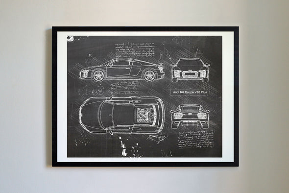 Audi R8 Coupe V10 Plus (2016-Present) da Vinci Sketch Art Print Blackboard