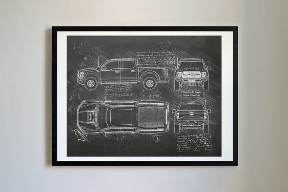 Ford F-150 Raptor Super CrewCab (2016) da Vinci Sketch Art Print Blackboard