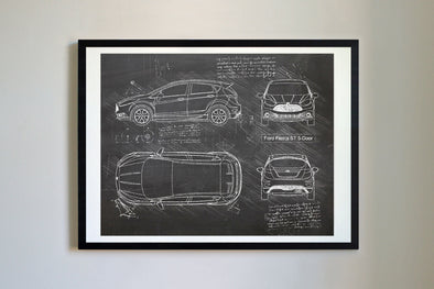 Ford Fiesta ST 5-Door (2015-17) da Vinci Sketch Art Print Blackboard