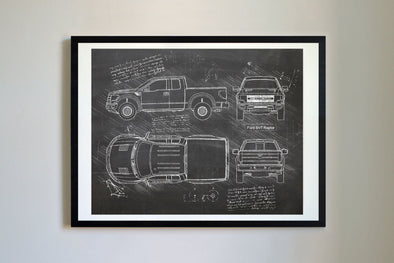 Ford F-150 SVT Raptor (2012-16) da Vinci Sketch Art Print Blackboard