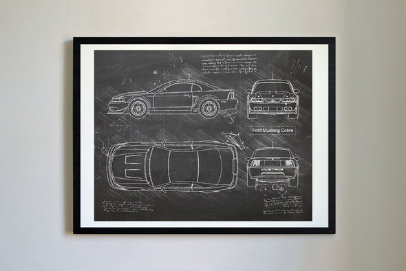 Ford Mustang Cobra (2003-04) da Vinci Sketch Art Print Blackboard