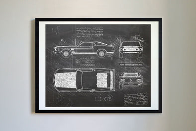 Ford Mustang Boss 302 (1969) da Vinci Sketch Art Print Blackboard
