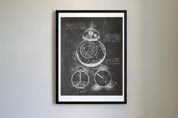 Star Wars BB-8 Droid da Vinci Sketch Art Print Blackboard