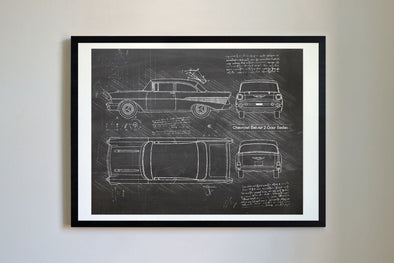 Chevrolet Bel-Air 2-Door Sedan (1957) da Vinci Sketch Art Print Blackboard