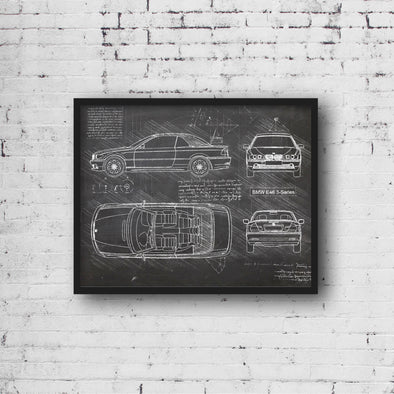 BMW E46 3-Series (2000-06) da Vinci Sketch Art Print