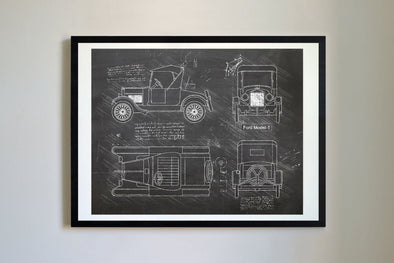 Ford Model-T (1923) da Vinci Sketch Art Print Blackboard