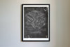 Dodge Hellcat Engine da Vinci Sketch Art Print Blackboard
