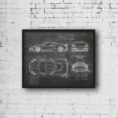 Chevrolet Corvette C8 Stingray (2020) da Vinci Sketch Art Print Blackboard