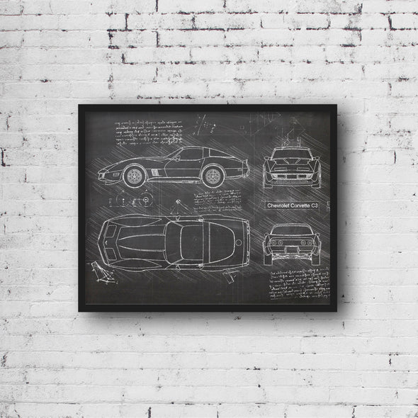 Chevrolet Corvette C3 (1967-82) da Vinci Sketch Art Print