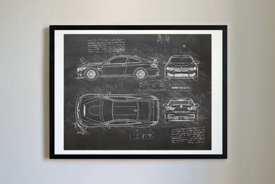 BMW M4 GTS (2015) da Vinci Sketch Art Print Blackboard