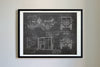 Jeep Willy (1942) da Vinci Sketch Art Print Blackboard