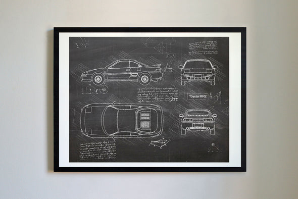 Toyota MR2 (1989) da Vinci Sketch Art Print Blackboard
