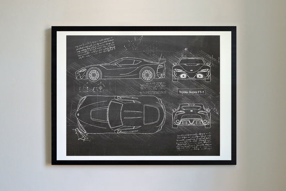 Toyota Supra FT-1 (2015) da Vinci Sketch Art Print Blackboard