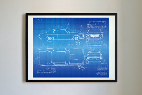 Chevrolet Chevelle (1970) da Vinci Sketch Art Print Blueprint