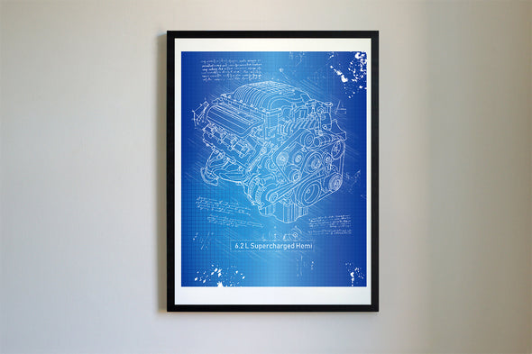 Dodge Hellcat Engine da Vinci Sketch Art Print Blueprint