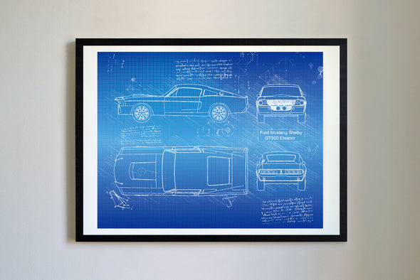Ford Mustang Shelby GT500 Eleanor (1967) da Vinci Sketch Art Print Blueprint