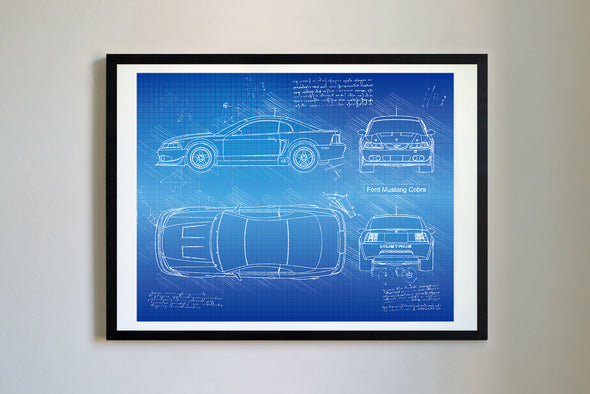 Ford Mustang Cobra (2003-04) da Vinci Sketch Art Print Blueprint