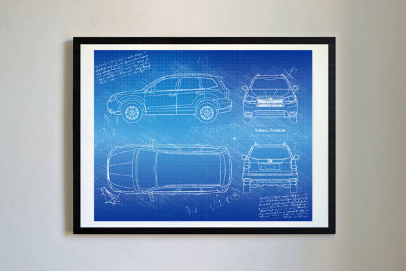 Subaru Forester (2015-17) da Vinci Sketch Art Print Blueprint
