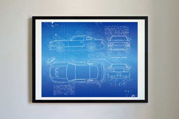 Ford Mustang Shelby GT500 (2007) da Vinci Sketch Art Print Blueprint