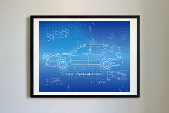 Subaru Impreza WRX 5-door (2004-05) da Vinci Sketch Art Print Blueprint