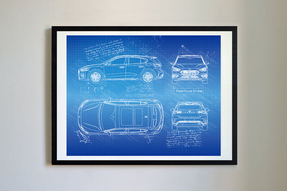 Ford Focus ST-line (2018) da Vinci Sketch Art Print Blueprint