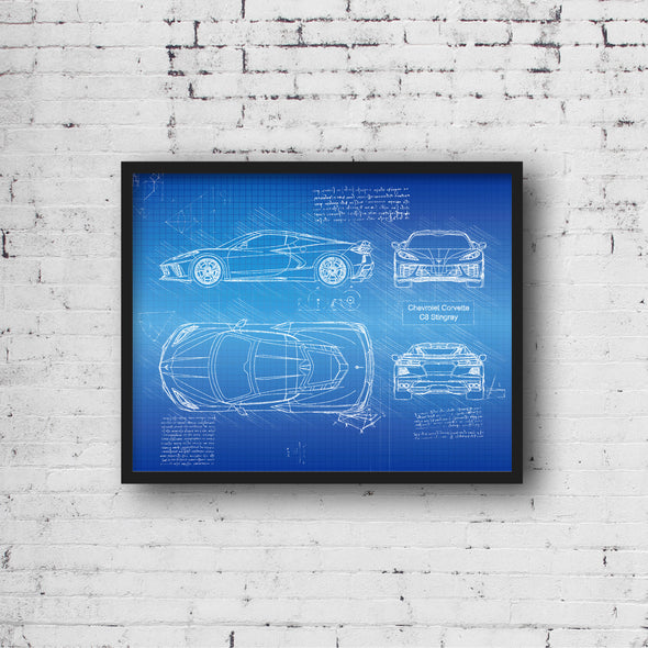 Chevrolet Corvette C8 Stingray (2020) da Vinci Sketch Art Print Blueprint
