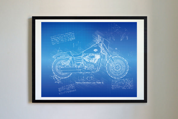 Harley-Davidson Low Rider S (2017) da Vinci Sketch Art Print Blueprint