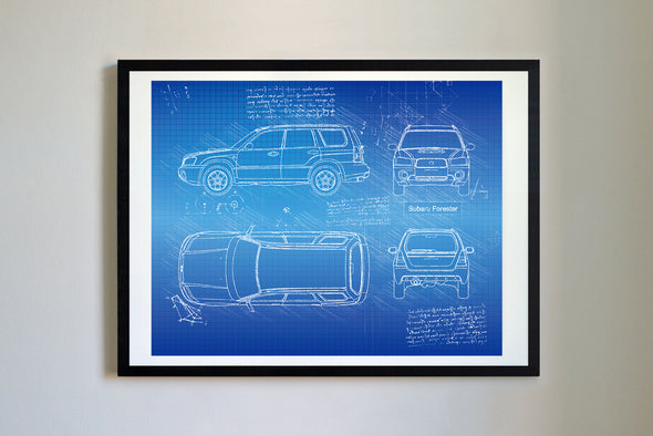 Subaru Forester (2003-08) da Vinci Sketch Art Print Blueprint