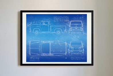 Ford F-100 (1953-56) da Vinci Sketch Art Print Blueprint