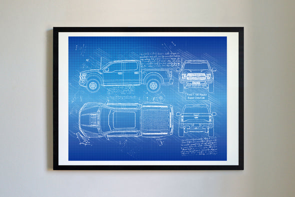 Ford F-150 Raptor Super CrewCab (2016) da Vinci Sketch Art Print Blueprint