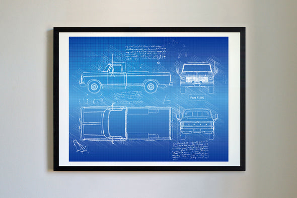 Ford F-250 (1979) da Vinci Sketch Art Print Blueprint