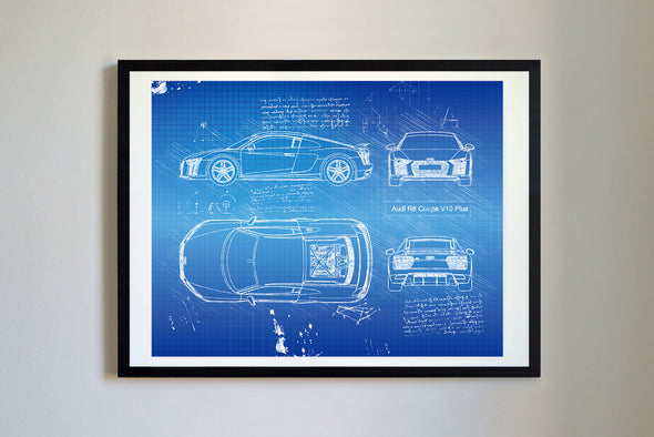 Audi R8 Coupe V10 Plus (2016-Present) da Vinci Sketch Art Print Blueprint