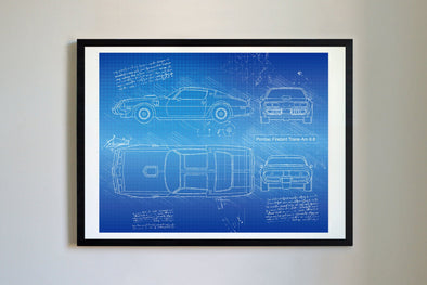 Pontiac Firebird Trans-Am 6.6 (1970-81) da Vinci Sketch Art Print Blueprint