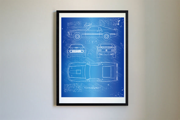 Ford Mustang Mach 1 (1969) da Vinci Sketch Art Print Blueprint