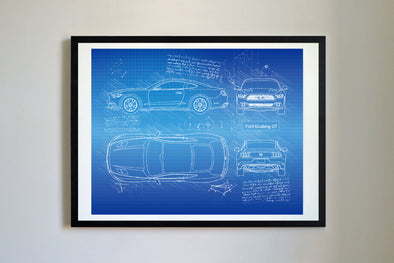 Ford Mustang GT (2014 -17) da Vinci Sketch Art Print Blueprint