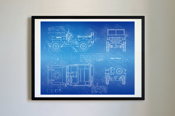 Jeep Willy (1942) da Vinci Sketch Art Print Blueprint
