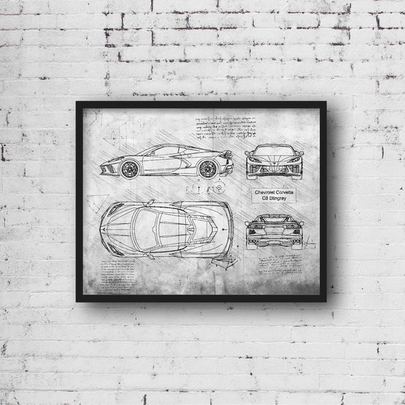 Chevrolet Corvette C8 Stingray (2020) da Vinci Sketch Art Print Grunge