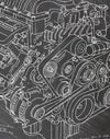 Dodge Hellcat Engine da Vinci Sketch Art Print Close Up