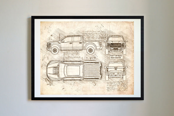 Ford F-150 Raptor Super CrewCab (2016) da Vinci Sketch Art Print Vintage