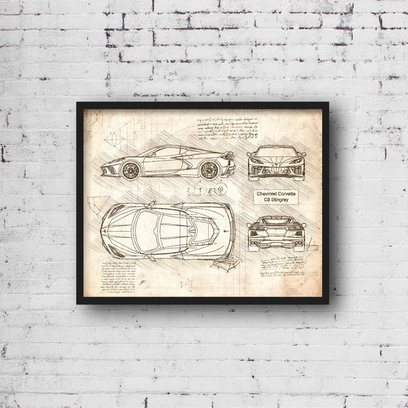 Chevrolet Corvette C8 Stingray (2020) da Vinci Sketch Art Print Vintage