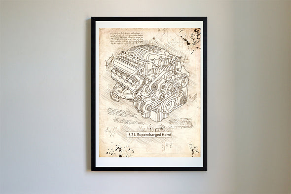 Dodge Hellcat Engine da Vinci Sketch Art Print Vintage