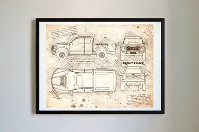 Ford F-150 Raptor SuperCab (2017) da Vinci Sketch Art Print Vintage