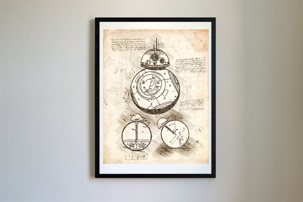 Star Wars BB-8 Droid da Vinci Sketch Art Print Vintage