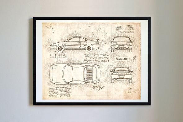 Toyota MR2 (1989) da Vinci Sketch Art Print Vintage