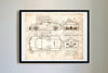 Bugatti Veyron Supersport (2010) da Vinci Sketch Art Print Vintage