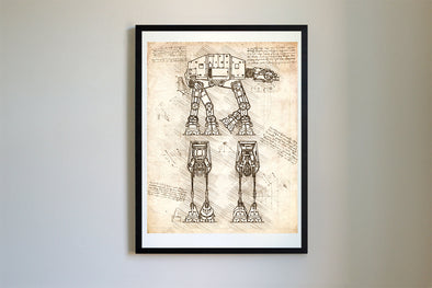 StarWars AT-AT da Vinci Sketch Art Print Vintage