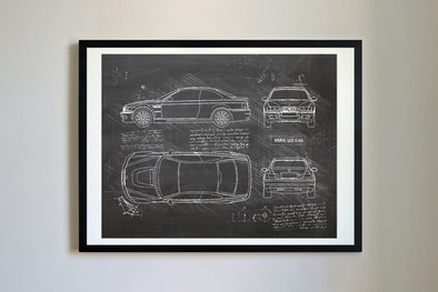 BMW M3 E46 (2001-06) da Vinci Sketch Art Print (#412)