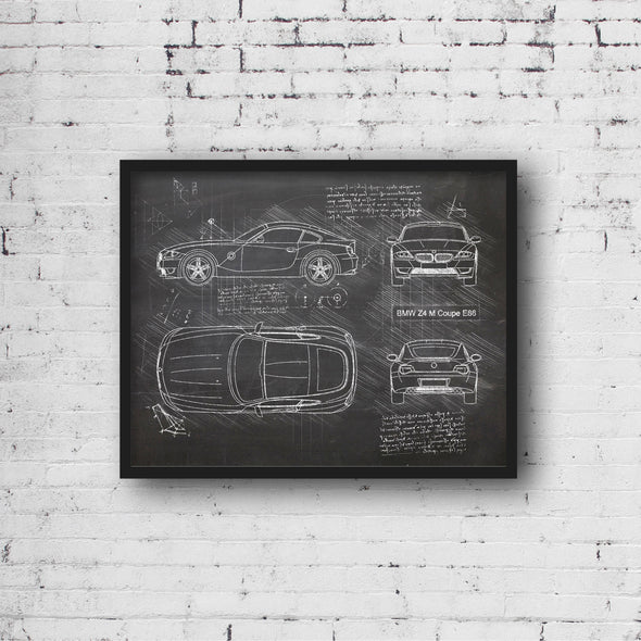 BMW Z4 M Coupe E86 (2006-08) da Vinci Sketch Art Print (#948)